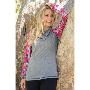 Pink Plaid Cowl Neck