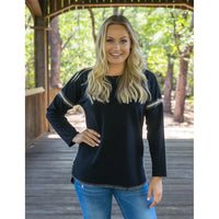 Black Whip Stitch Top