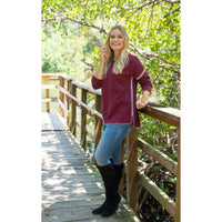 Burgundy Whip Stitch Top
