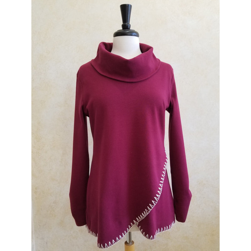 Black or Burgundy Whip Stitch Cowl neck Tunic