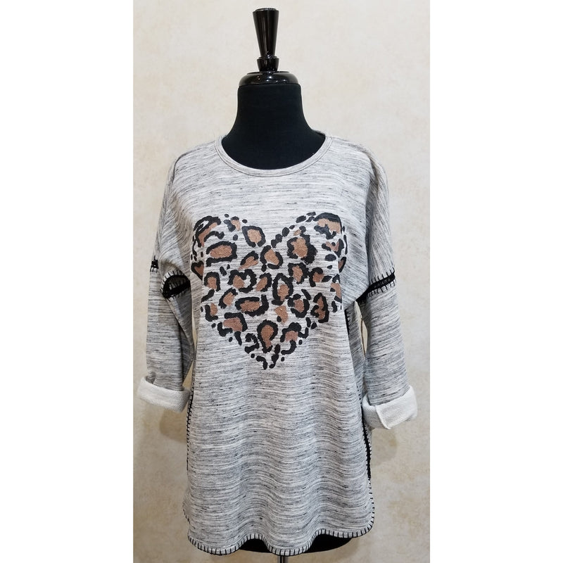 Leopard Heart Pullover Top