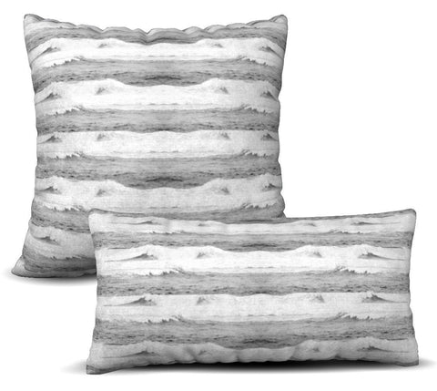 Waves - Grey Pillow Cover