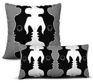 Two Faced - Noir Pillow Cover