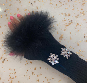 Black Crystal & Fur Gloves