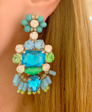 Turquoise and Green Stella Earrings