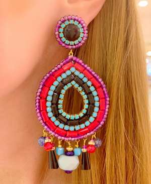 Purple, Turquoise & Coral Sofia Earrings