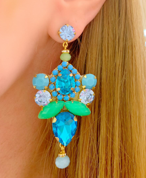 Turquoise and Green Vera Earrings