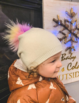 Kids Cream Beanie with Unicorn Pompom
