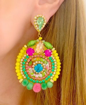Yellow, Green & Pink Amelia Earrings