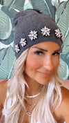 Grey Snowflake Crystal Hat