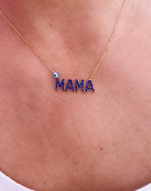 Navy MAMA Necklace
