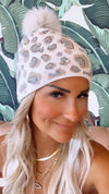 Cream Leopard Crystal Hat