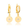Disc Diamond Drop Earrings
