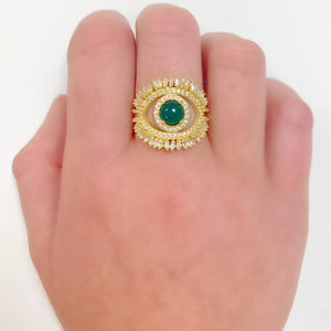 Green Eye With Lashes Ring