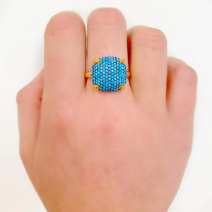 Turquoise Big Claw Cube Ring