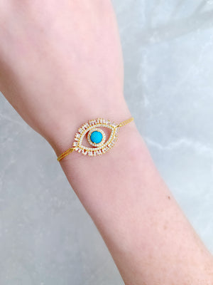 Turquoise Eye with Lashes Bracelet