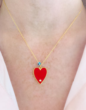 Red Big Enamel Heart Necklace