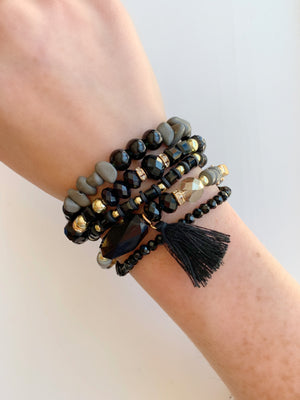 Black & Grey Tassel Bracelet Set
