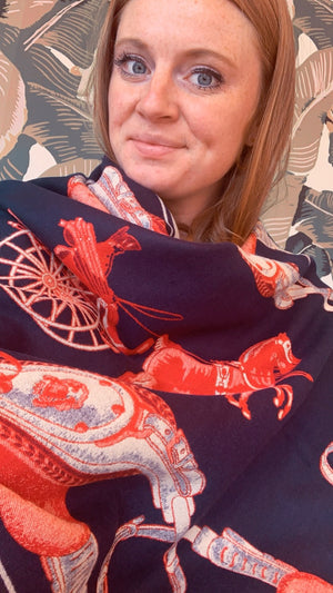 Red & Navy Horse Saddle Shawl