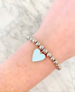 Powder Blue Enamel Heart Bracelet