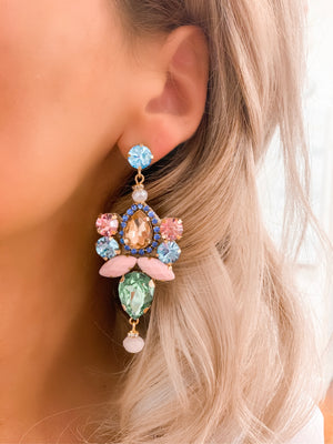 Pink, Green & Blue Vera Statement Earrings