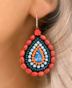 Coral & Turquoise Eliza Earrings