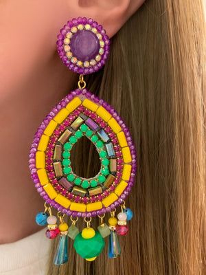 Yellow, Green & Purple Sofia Earrings