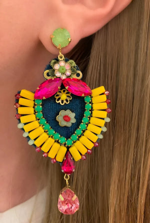 Yellow, Green & Pink Maria Earrings
