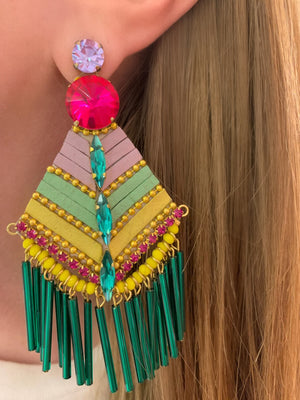 Yellow, Green & Pink Luciana Earrings