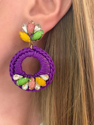 Purple, Green & Yellow Elora Earrings