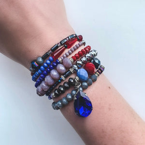 Blue, Purple & Red Georgia Wrap Bracelet