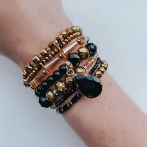 Black & Gold Georgia Wrap Bracelet