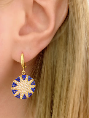 Navy Mini Big Sun Earrings
