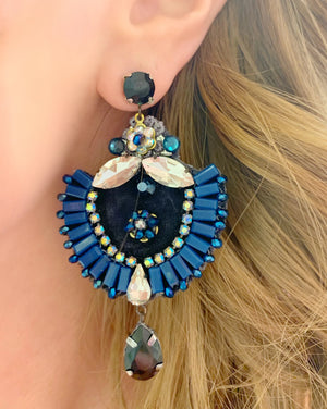 Navy & Black Maria Earrings