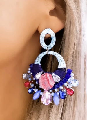 Pink & Blue Fleur Statement Earrings
