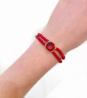 Red Double Crystal Bracelet