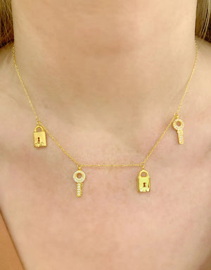 Lock & Key Confetti Necklace