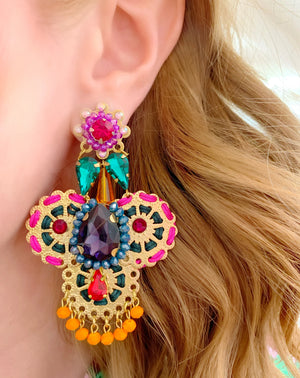Green, Pink & Orange Santana Earrings