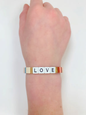 Rainbow Rectangle LOVE Bracelet