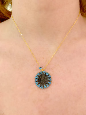 Turquoise & Black Big Sun Necklace