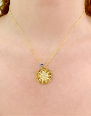 Champagne Mini Big Sun Necklace