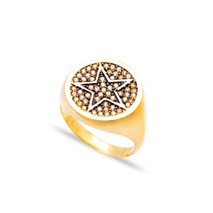 Champagne Pinky Star Ring