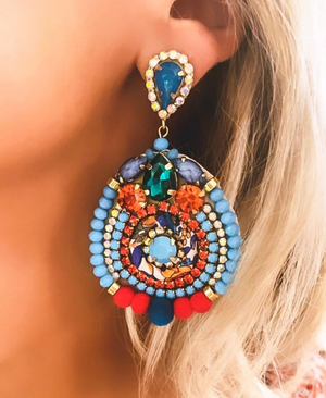 Turquoise & Coral Amelia Earrings