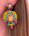 Yellow, Green & Pink Jasmine Earrings