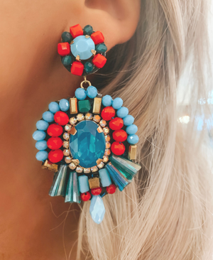 Coral & Turquoise Jasmine Earrings
