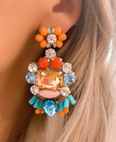 Turquoise, Orange & Pink Stella Earrings