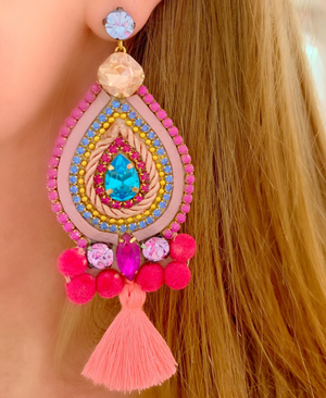 Pink and Blue Valentina Earrings