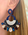 Black & Navy Fleur Earrings