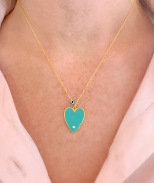 Turquoise Big Enamel Heart Necklace