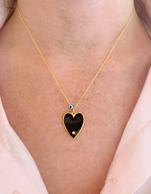 Black Big Enamel Heart Necklace